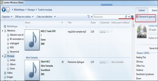 graver des mp3 en cd audio avec windows media 2