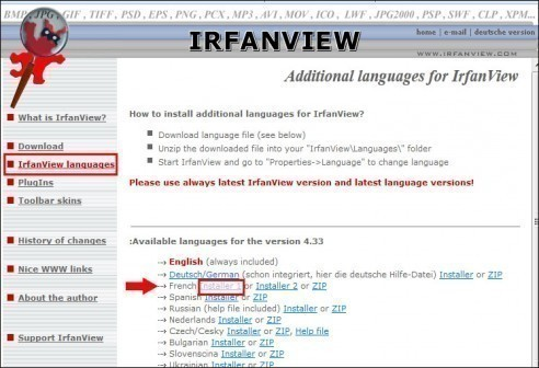 Installer un pack de langue pour IrfanView