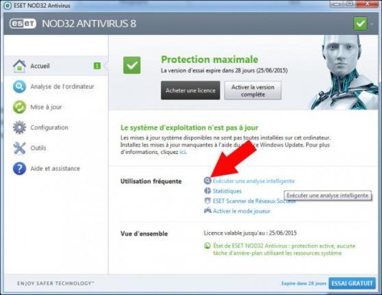 lancer une analyse de virus avec nod32 1
