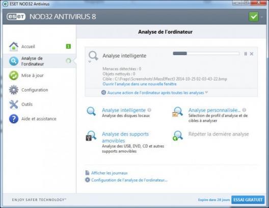 lancer une analyse de virus avec nod32 2