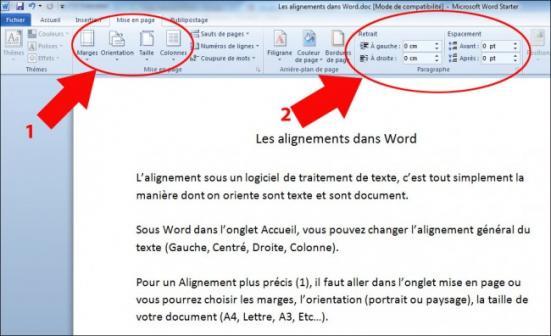 les alignements dans word ou openoffice 2