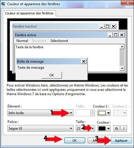 modifier la taille des info bulles windows 7 4