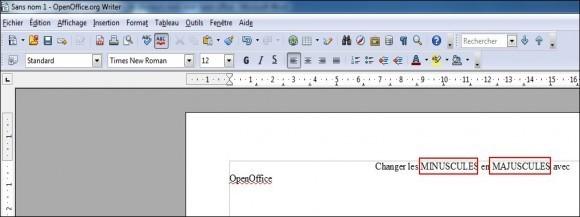modifier minuscules et majuscules de plusieurs mots avec open office 1
