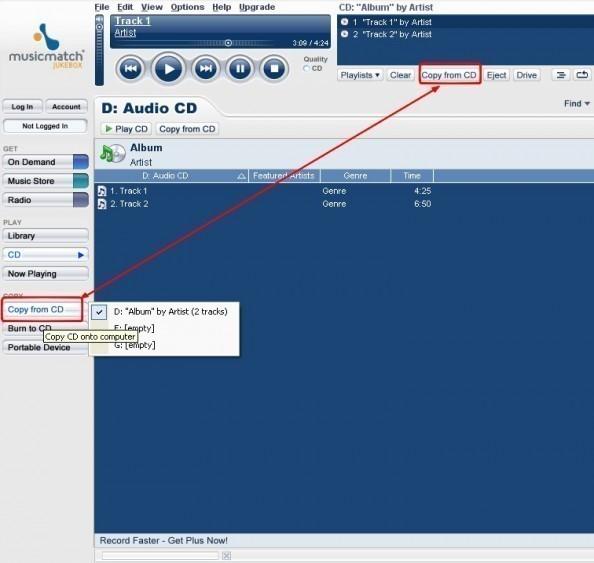 musicmatch jukebox extraire des fichiers audio de cd dans le format mp3 2