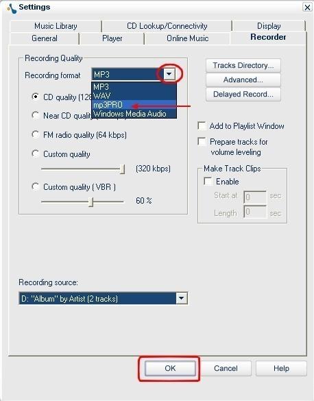 musicmatch jukebox extraire des fichiers audio de cd dans le format mp3pro 4