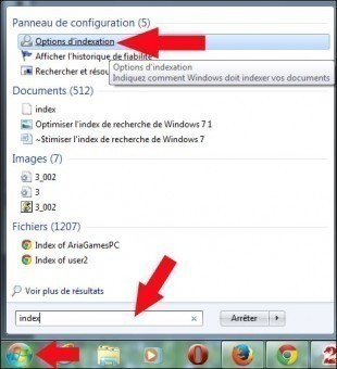 optimiser l index de recherche de windows 7 1
