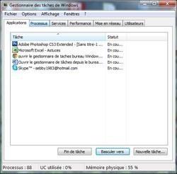Ouvrir le gestionnaire de tâches depuis le bureau Windows 7