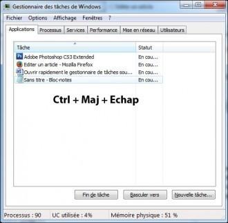 Ouvrir rapidement le gestionnaire de tâches sous Windows 7