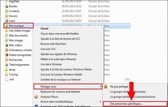 Partager un dossier Windows 7