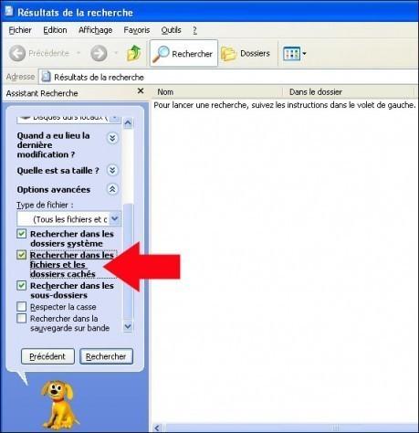 rechercher fichier dossier avec windows xp 3