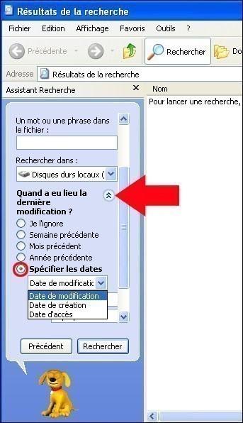 rechercher fichier dossier avec windows xp 7