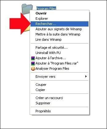 rechercher fichier dossier avec windows xp 10