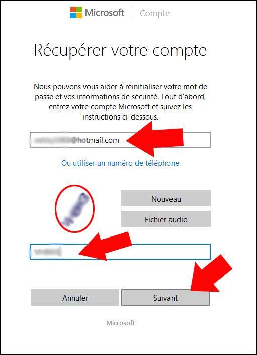 recuperer son mot de passe hotmail 2