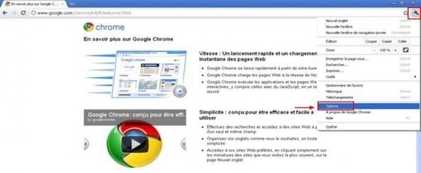 Réinitialiser Google Chrome