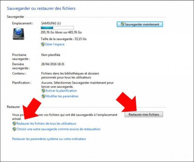restaurer des fichiers a partir d une sauvegarde windows 7 3