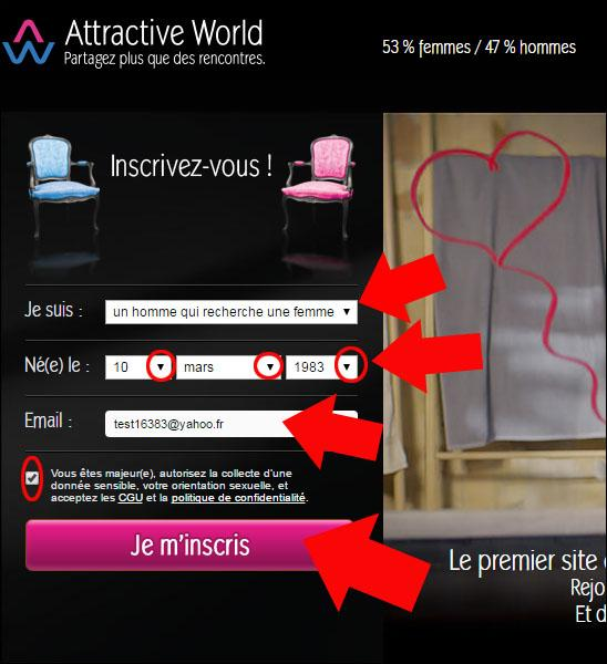 s inscrire sur attractive world 1