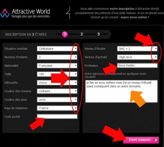 s inscrire sur attractive world 2