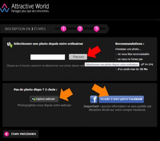 s inscrire sur attractive world 4