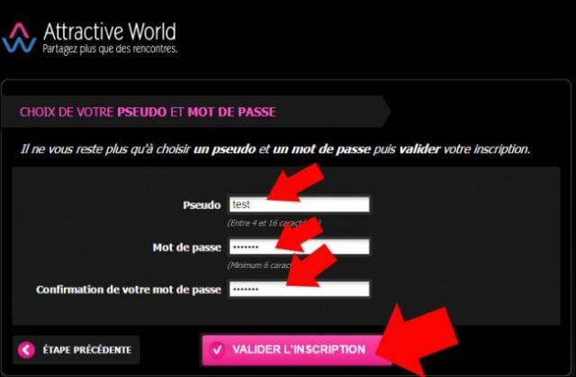 s inscrire sur attractive world 6