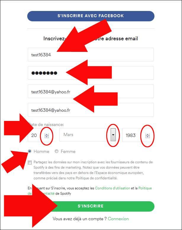 s inscrire sur spotify 3