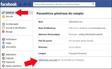 sauvegarder vos donnees facebook 2
