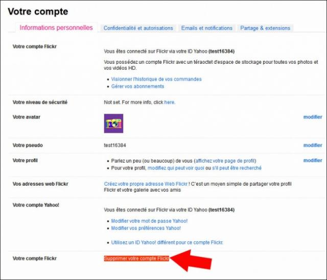 se desinscrire de flickr 2