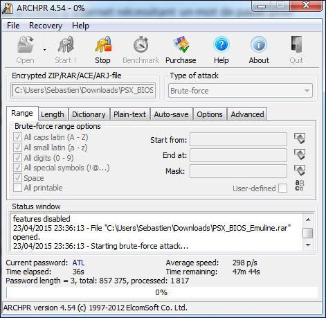 trouver le mot de passe d un fichier rar 3