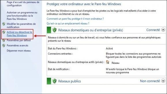 windows 7 activer desactiver le pare feu 3