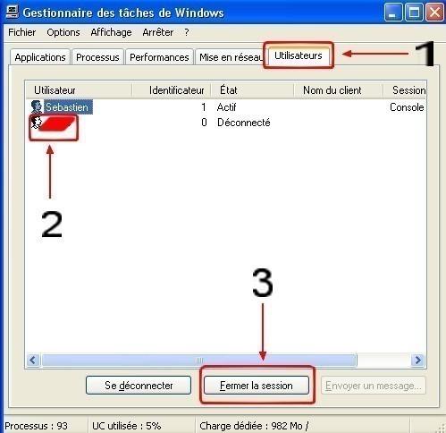 Windows XP fermer la session d'un utilisateur