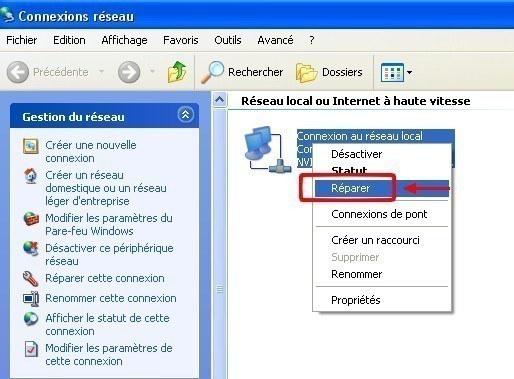 windows xp reinitialiser la carte reseau de son ordinateur 1