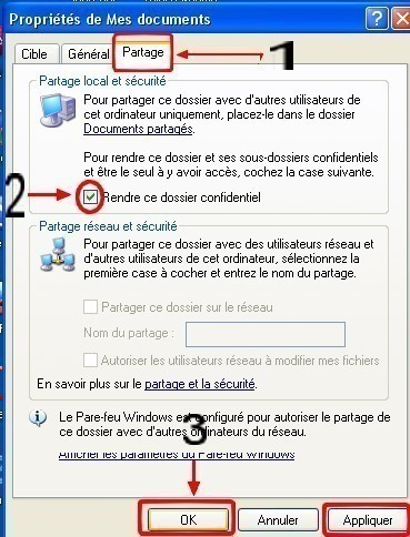 windows xp rendre le dossier mes documents confidentiel 1