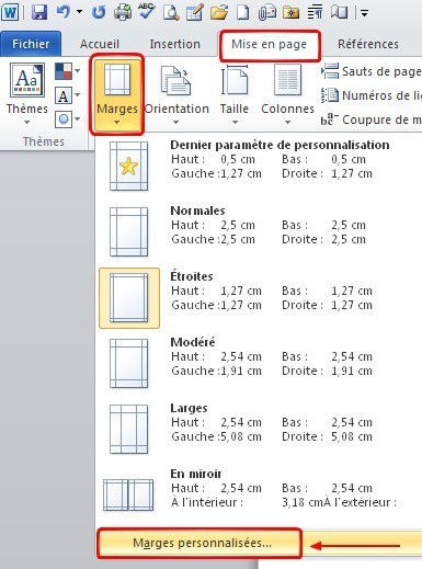 word 2010 probleme de zone d impression 0