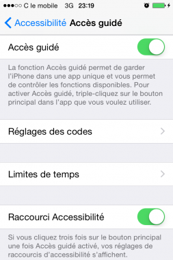 limiter l acces du iphone en activant mode guide 4