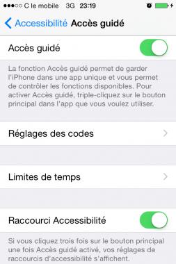 limiter l acces du iphone en activant mode guide 4