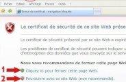 Erreur certificat sécurité internet