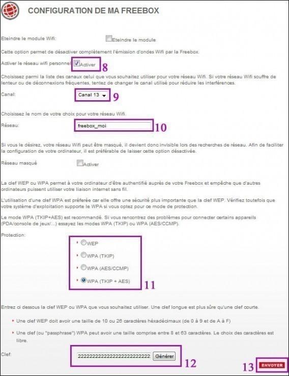 Changer la cle wifi sur freebox et configuration 3