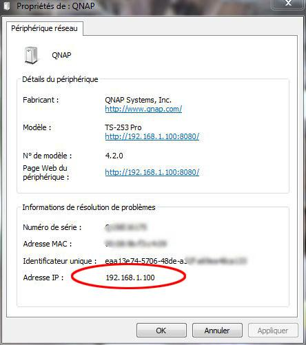 acceder a l interface d administration nas 1