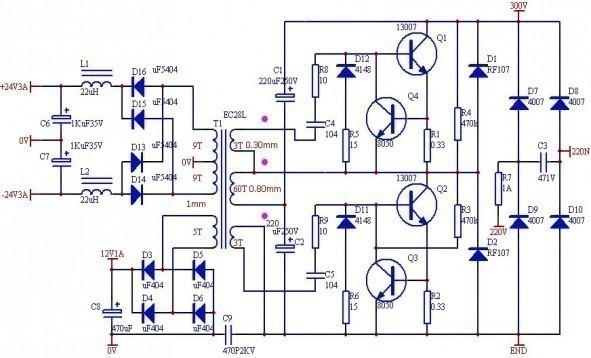 Alimentation à découpage auto-oscillante pour amplificateur