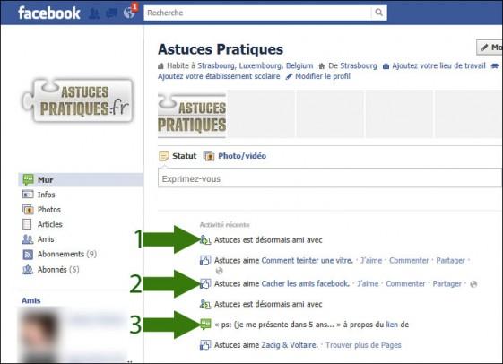 cacher activite recente facebook 1