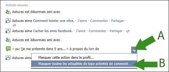 cacher activite recente facebook 2