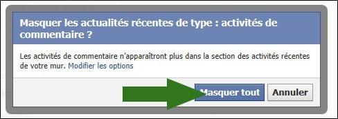 cacher activite recente facebook 3