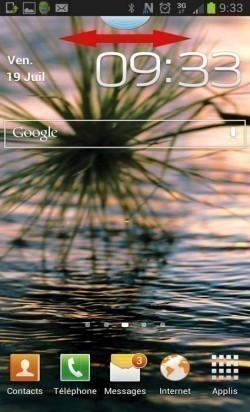 deplacer onglet bleu sur android samsung 3