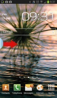 déplacer onglet bleu sur android samsung