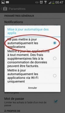 desactiver mise a jour automatique applications android 4