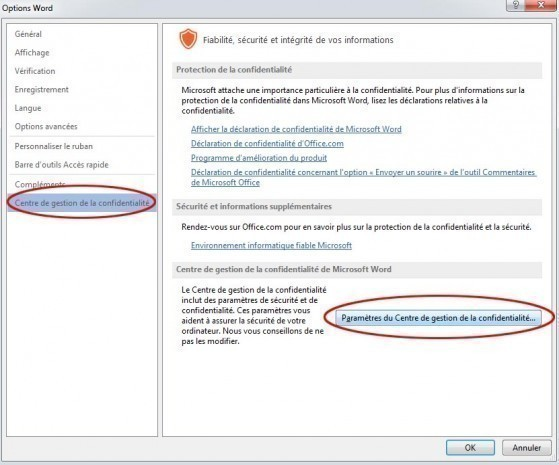 desactiver mode protege office et word 3