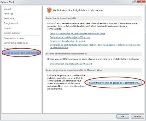 desactiver mode protege office et word 3
