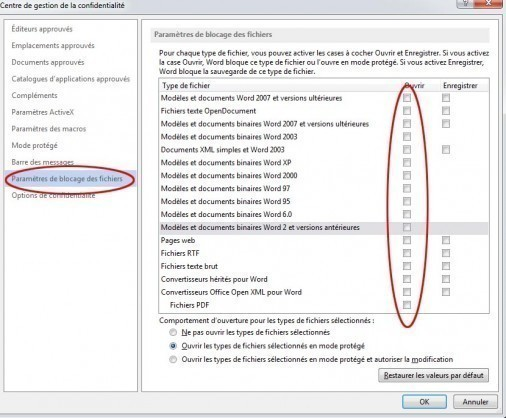 desactiver mode protege office et word 5