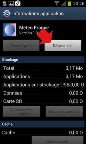 desinstaller une application android 4