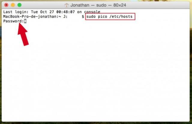 editer fichier host mac 2