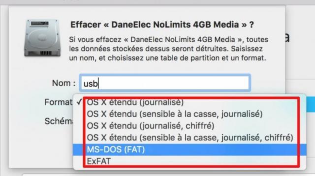 - Sélectionnez ensuite votre disque dans la colonne de gauche, et choisissez l'onglet Effacer, puis le format désiré (MS-DOS =  Fat32 sur un Mac) et un nom. Validez par Effacer en bas à droite. Une fois le formatage terminé, vous pourrez réintégrer vos données et utiliser votre disque dur ou votre  clé USB...